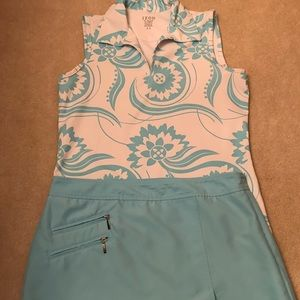 Izod Turquoise Golf Skirt Size 4 and Top XS